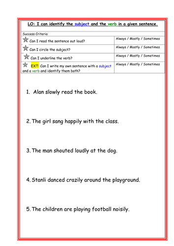 Identifying the subject and the verb in a given sentence KS1 / LKS2