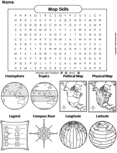 Map Skills Word Search
