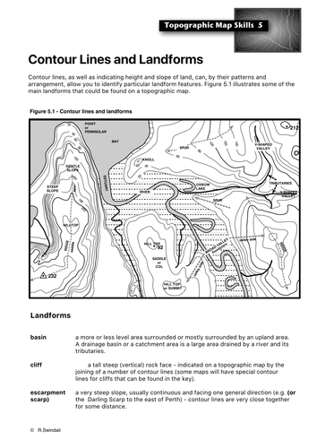 topographic map skills 5 landforms by swintrek teaching resources tes. Black Bedroom Furniture Sets. Home Design Ideas