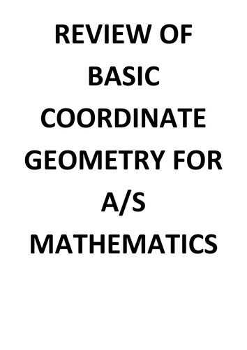 Coordinate Geometry review worksheet for AS level by