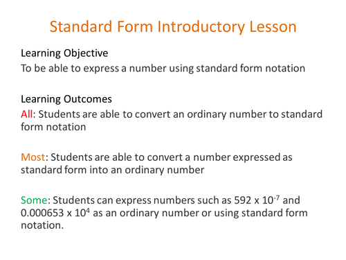 Standard Form By Roundup Teaching Resources Tes
