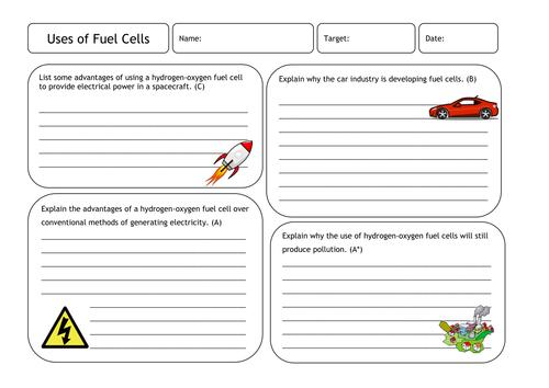 Uses of Fuel Cells Worksheet