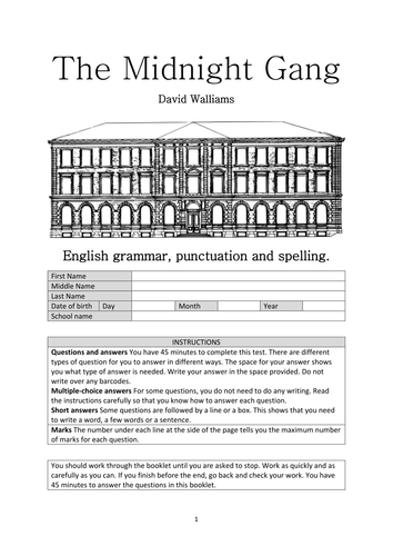 The Midnight Gang - David Walliams - English grammar test booklet.