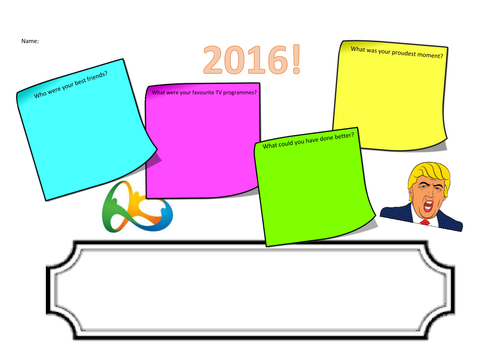 New Year resource, ideal for form time. Self review of 2016 and goal-setting for 2017.
