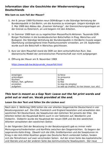 Year 13 German Preparation for Oral  Topic Wiedervereinigung for AQA (revised)