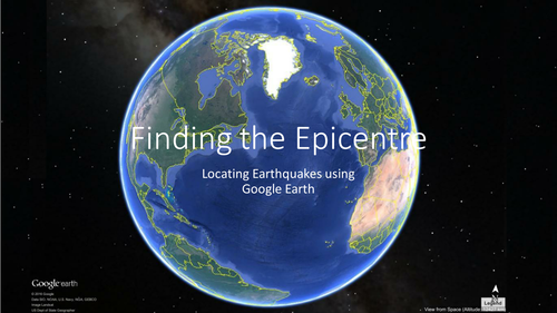 Finding the epicentre of an earthquake using Google Earth. Triangulation