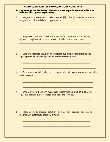 Word and symbol equations worksheet with answers by kunletosin246 word and symbol equations worksheet with answers by kunletosin246 teaching resources tes ibookread ePUb