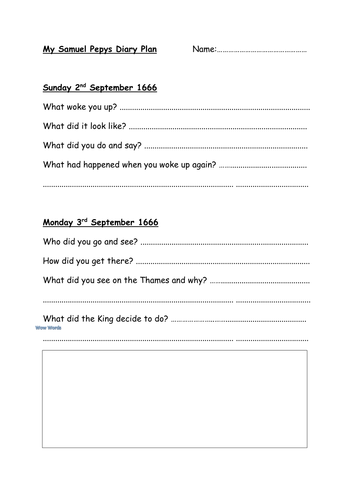 Diary entry plan for sam pepys by boondog75 teaching for Diary writing template ks1