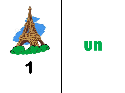 Primary French:  Numbers 1-10 picture pairs