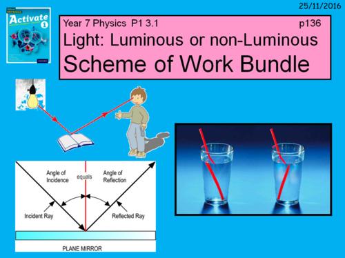 "Year 7 Activate 1 Physics 1.3 ""Light"" Scheme of work."