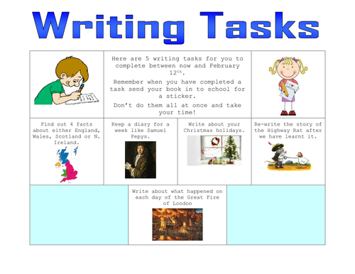 Homework writing tasks