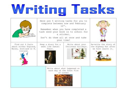 Homework writing tasks