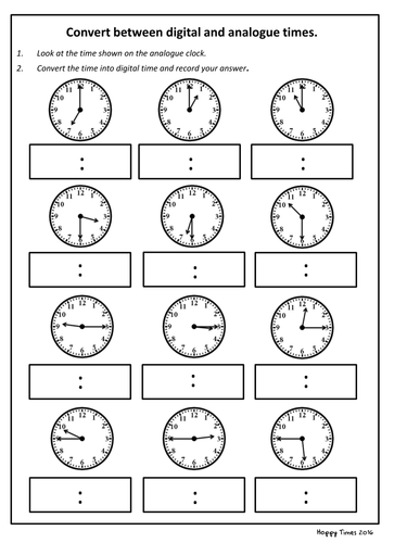 Convert analogue to digital time worksheet (KS2 Maths) by ...