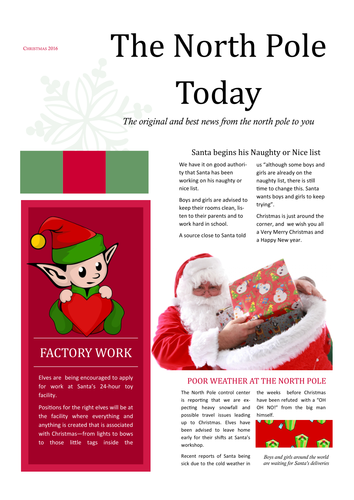 Christmas Newsletter with Publisher (KS2 / KS3)
