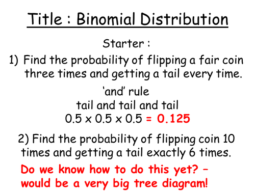 Secondary advanced statistics teaching resources Binomial – Binomial Probability Worksheet