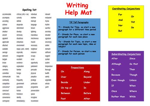 Writing Help Mat