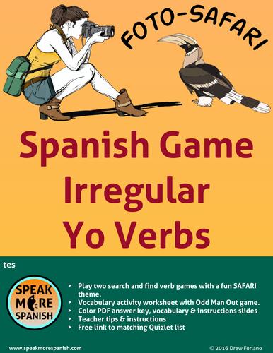 Spanish Verb Game Irregular Present Yo Verbs Verbos Irregulares