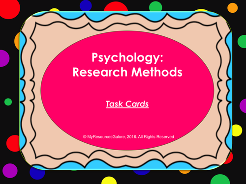Psychology: Research Methods Task Cards