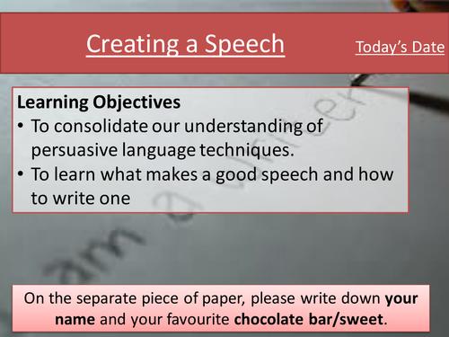 Eduqas Component 2 Writing Skills- writing a speech