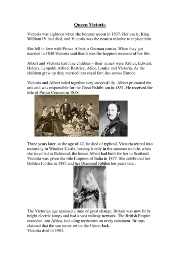 Queen Victoria information sheets with follow-up questions