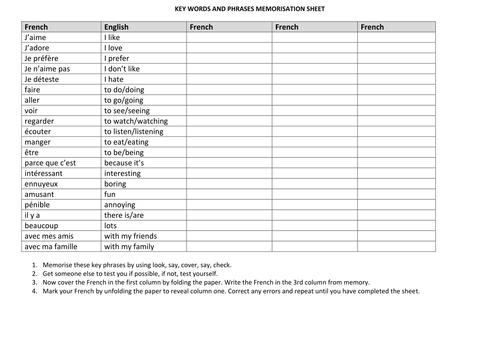 basic key words and phrases memorisation sheet by allowitmissman
