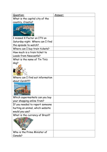 Fun General Knowledge Quiz!! Suitable for print out or for use on