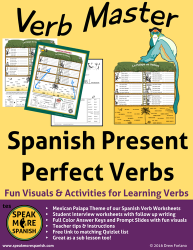 Spanish Verb Master for Present Perfect Verbs  Mexican Palapa Version!  Verbos en Español