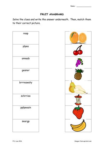 Literacy word work:  food theme