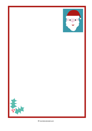 Father Christmas Santa Letter Templates Plain Half