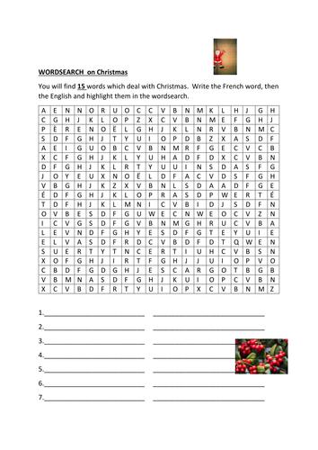 Joyeux Noel wordsearch and crossword