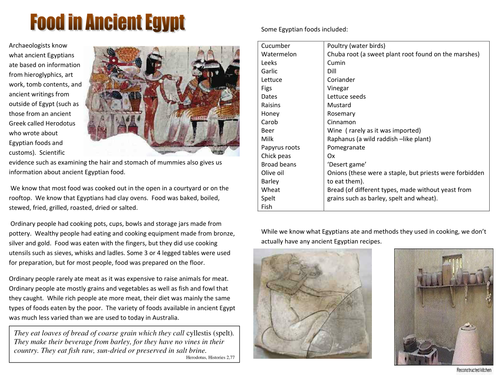 Ancient Egypt Food and Food Tasting Hands-on Learning Activity