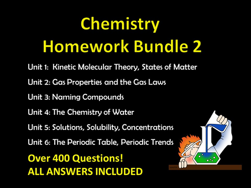Chemistry Homework Bundle w/ ANSWERS and Multiple Choice Exam Practice, editable pack 2
