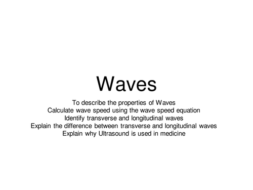 Waves and wave speed lesson
