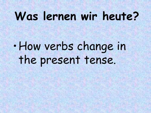 GERMAN Present tense verbs - powerpoint, worksheet and test