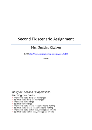 Second Fix Scenario Booklet Assignment Carpentry and Joinery