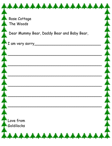 Goldilocks sorry letter template - differentiated Reception / Year 1 / Lower Year2