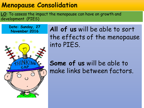 Health and Social Care GCSE menopause exam technique lesson middle adulthood