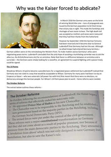 Why did the Kaiser abdicate?