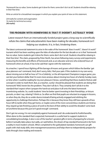 article on homework