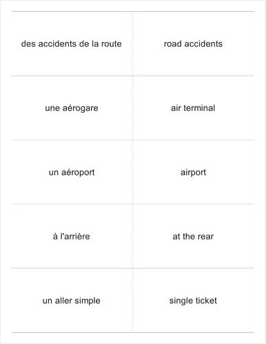 French verbs OCR aller-atterrir FLASHCARDS