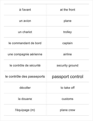French verbs OCR avant-vol FLASHCARDS
