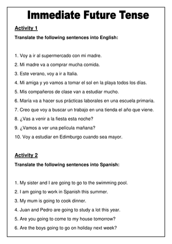 Spanish Immediate Future Tense Worksheet