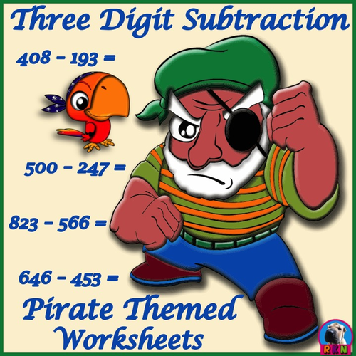 Three Digit Subtraction Worksheets - Pirate Themed - Horizontal ...