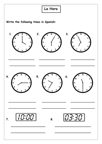 spanish time worksheet by roisin89 teaching resources. Black Bedroom Furniture Sets. Home Design Ideas