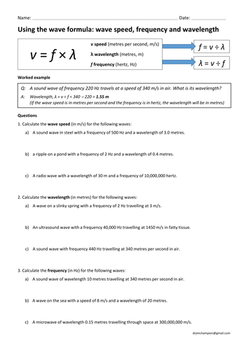 GCSE physics: wave speed equation practice (wavespeed = frequency x  wavelength)