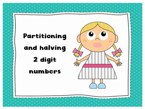 Halving diamond, partitioning and halving 2 digit numbers PowerPoints