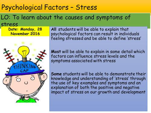 Psychological Factors Stress Health and Social Care GCSE Edexcel Unit 1