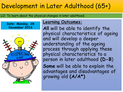 Later adulthood 65+ lesson on development Edexcel Unit 1 GCSE Health and Social Care
