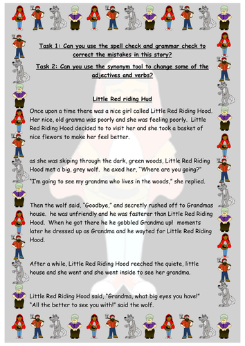 Spell Check And Synonyms Little Red Riding Hood Story Computing