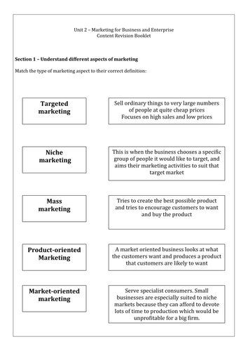 NCFE Business and Enterprise Unit 2 Marketing Exam Revision Activity Booklet